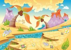 Fond avec des paumes et des volcans d'arbre. illustration libre de droits