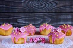 Fond avec des petits gâteaux avec des couleurs roses et grises Photographie stock