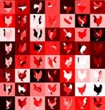 Fond avec des poulets dans des tons rouges Images libres de droits