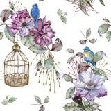 Fond avec des roses et des oiseaux bleus Configuration sans joint Images stock