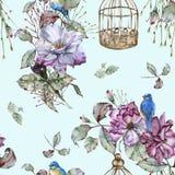 Fond avec des roses et des oiseaux bleus Configuration sans joint Photographie stock