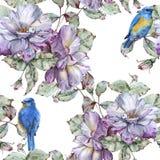 Fond avec des roses et des oiseaux bleus Configuration sans joint Photos stock