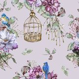 Fond avec des roses et des oiseaux bleus Configuration sans joint Photographie stock libre de droits