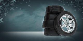 Fond avec des roues d'hiver de voiture Photo libre de droits