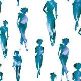 Fond avec des silhouettes des filles Configuration sans joint Watercol illustration de vecteur