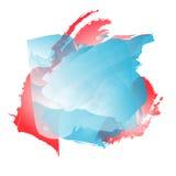 Fond avec des taches d'aquarelle Illustration dans des couleurs rouges, bleues et blanches Image libre de droits