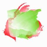 Fond avec des taches d'aquarelle Illustration dans des couleurs rouges, vertes et blanches Photographie stock libre de droits