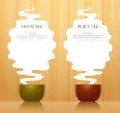 Fond avec des tasses de thé Photos stock