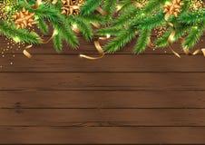 Fond avec l'arbre de Noël, rubans d'or illustration libre de droits
