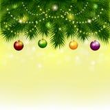 Fond avec l'arbre et les boules de Noël Photo stock