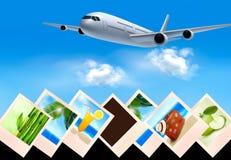 Fond avec l'avion et avec des photos de holi Photo stock