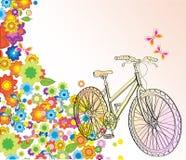 Fond avec la bicyclette et les belles fleurs Image libre de droits