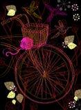 Fond avec la bicyclette et les fleurs Photographie stock libre de droits