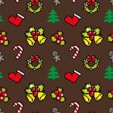 Fond avec la couleur de Brown de modèle d'hiver d'art de pixel de symboles de Noël Image libre de droits