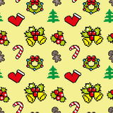 Fond avec la couleur de jaune de modèle d'hiver d'art de pixel de symboles de Noël Photo libre de droits