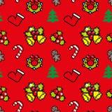 Fond avec la couleur rouge d'art de pixel de symboles de Noël Image libre de droits