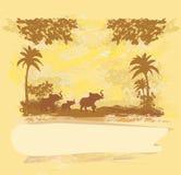 Fond avec la famille d'éléphant Photo libre de droits
