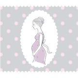 Fond avec la femme enceinte tirée par la main Images libres de droits