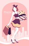 Fond avec la fille et les paniers de mode Photo libre de droits