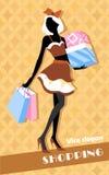 Fond avec la fille et les paniers de mode Image libre de droits