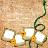 Fond avec la glissière, la fleur et la corde de foto illustration stock