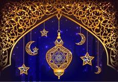 Fond avec la lanterne arabe Images stock