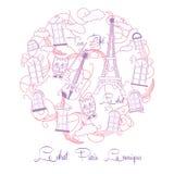 Fond avec la musique et la visite roses Eiffel Photo stock