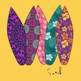 Fond avec la planche de surf cinq Images stock