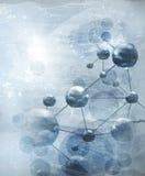 Fond avec le bleu de molécules, à l'ancienne Photos stock