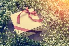 Fond avec le cadre de fleur blanche et boîte-cadeau avec le ri gentil rouge Photos stock