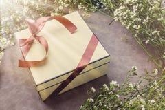 Fond avec le cadre de fleur blanche et boîte-cadeau avec le ri gentil rouge Image stock