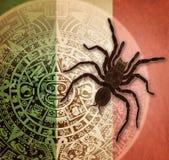 Fond avec le calendrier et la tarentule aztèques Images libres de droits