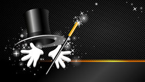 Fond avec le chapeau, la baguette magique magique et la main Photo stock