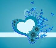 Fond avec le coeur décoré des fleurs et des feuilles Image stock