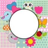 Fond avec le coeur, la fleur, les champignons, le papillon et les oiseaux Photos stock