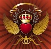 Fond avec le coeur, les ailes et la tête royale d'or Image libre de droits