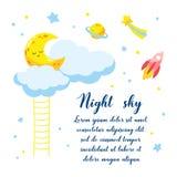 Fond avec le croissant et les nuages de bande dessinée et d'autres objets cosmiques dans le ciel Illustration de vecteur Photos libres de droits