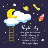 Fond avec le croissant et les nuages de bande dessinée et d'autres objets cosmiques dans le ciel nocturne Illustration de vecteur Images stock