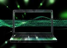 Fond avec le flot d'ordinateur portatif et d'Internet Images stock