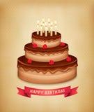 Fond avec le gâteau de chocolat d'anniversaire Images stock