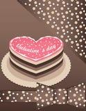 Fond avec le gâteau rose Images stock
