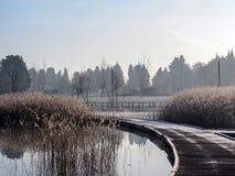 Fond avec le passage couvert en bois de chemin au rivage de lac un matin tranquille calme d'hiver Pilier en bois de hoar de Frost photo libre de droits