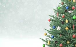 Fond avec le rendu de l'arbre de Noël 3d Photos stock