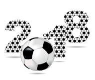 Fond avec le signe 2018 et le ballon de football Photographie stock libre de droits