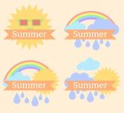 Fond avec le soleil, les nuages, l'arc-en-ciel et la pluie Photo libre de droits