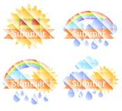 Fond avec le soleil, les nuages, l'arc-en-ciel et la pluie Image stock