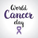Fond avec le symbole de ruban de conscience de lavande du jour de Cancer du monde du 4 février avec le ruban et le lettrage de co Image libre de droits