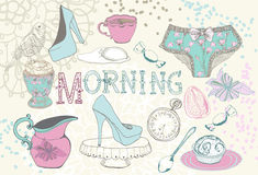 Fond avec le thé de matin Photo stock