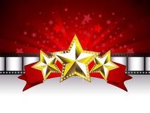 Fond avec les étoiles d'or Images stock