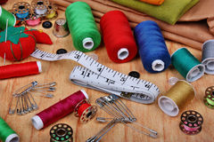 Fond avec les articles de couture Photo libre de droits
